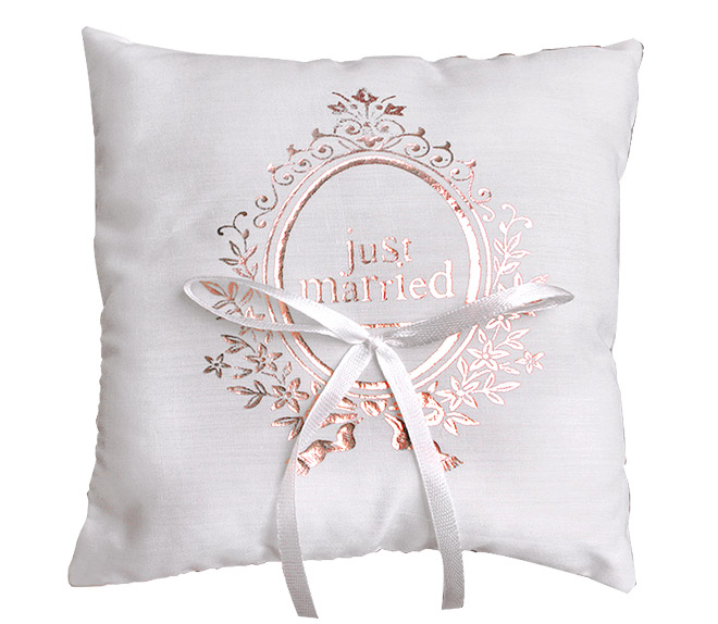 Coussin pour Alliances Mariage Just Married Rose Or