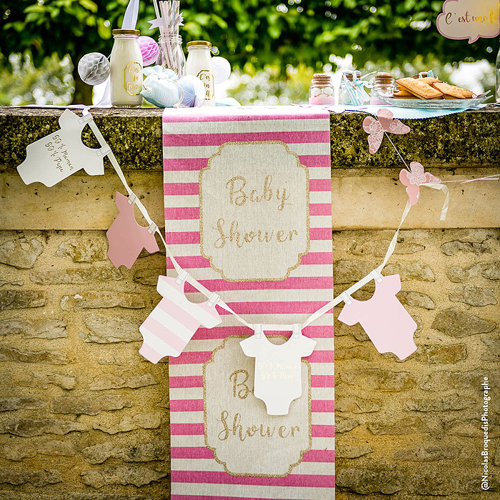 Décoration Fete Baby Shower Fille Rose