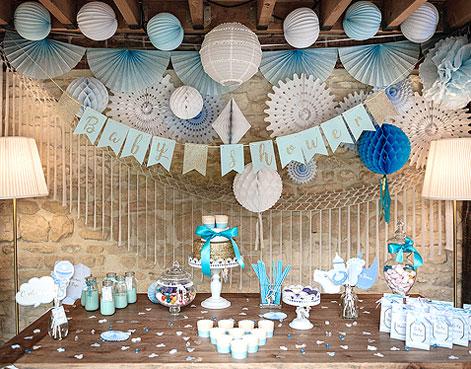 Décoration fête Baby Shower bleu garçon