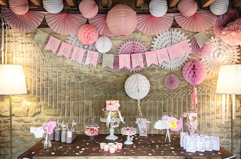 Guirlande Baby Shower Fanions rose fille
