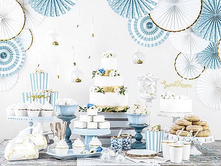 Décoration Candy Bar Bleu Ciel Blanc Doré