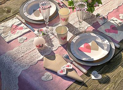 Déco de table rose et blanc
