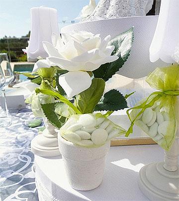 Petit Pot Rose Blanche Décoration