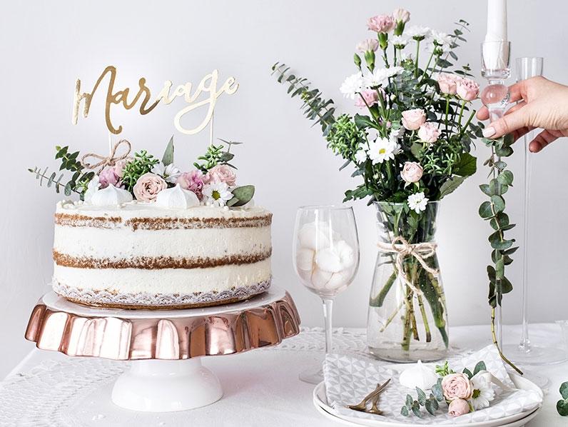 Cake Topper Mariage Doré Déco gateau de mariage doré