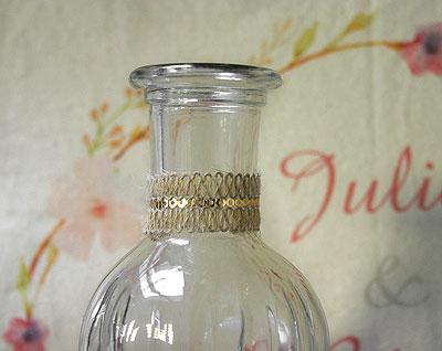 Déco jute bouteille verre rétro