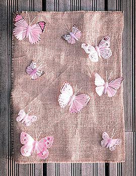 Décoration Table Papillon Rose & Jute