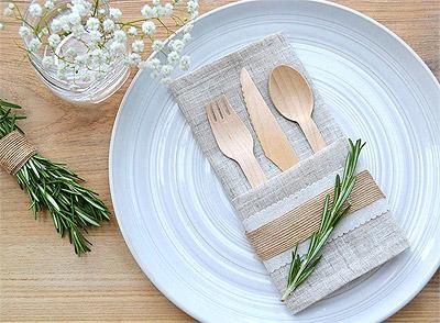 Couteau fourchette en bois jetable