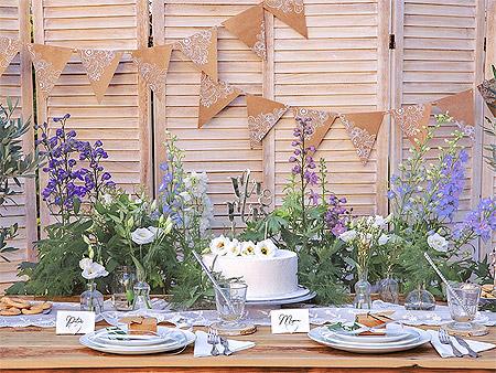 Décoration de Table Fêtes Champêtre Chic Kraft Argenté