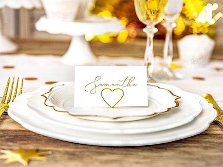 Décoration de Table Fêtes Chic Blanc Doré Gold