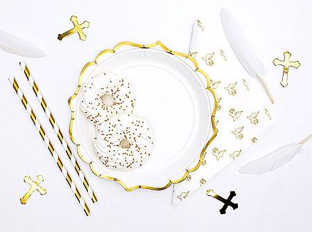 Décoration de Table Communion Croix Blanc Doré