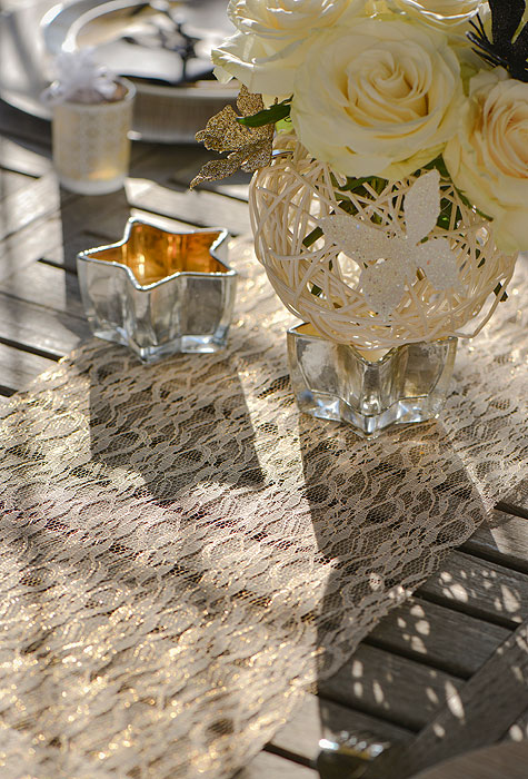 Chemin de table lurex dentelle dor d coration vintage - Chemin de table dore ...
