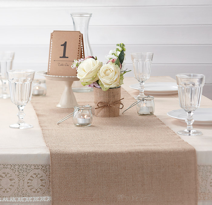 Decoration Chemin Table Mariage Jute Discount Chic