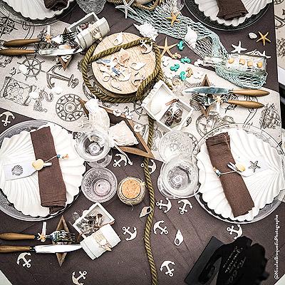 Décoration Table Thème mer Bois Coquillages et Corde Marin
