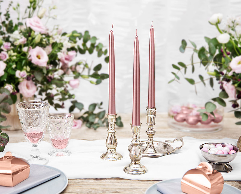 Décoration bougies chandelier rose gold