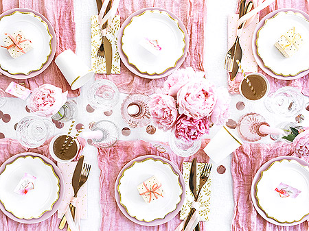 Décoration de Table Chic Blanc Rose Gold