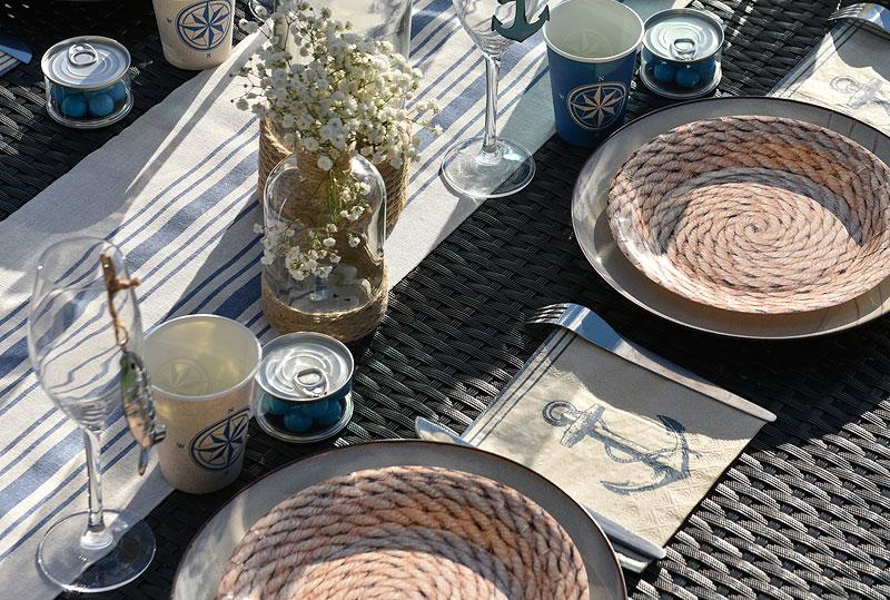 serviettes papier ancre bord de mer x20 d coration de table. Black Bedroom Furniture Sets. Home Design Ideas