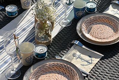Décoration de table thème bord de mer