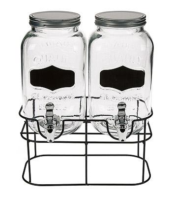 Double distributeur de boissons en verre