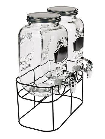 Double fontaine à boissons en verre