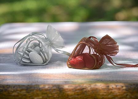 Coeur en Organdi Déco Table Chocolat
