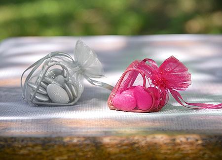 Coeur en Organdi Déco Table Fuchsia
