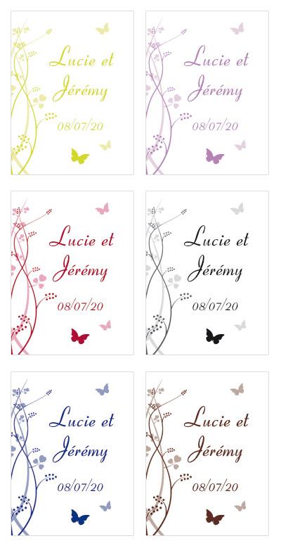 Etiquettes Personnalisées Rectangle Papillon
