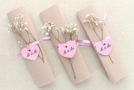 marque places serviettes Coeur Rose