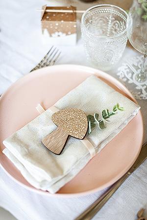 feuille eucalyptus décoration serviette de table