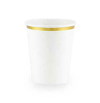 6 Gobelets Carton Blanc Liseré Doré Elégant Pas Cher