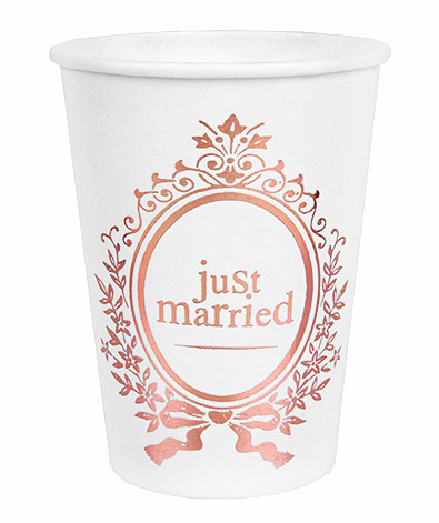 Gobelet Carton Recyclable Just Married Rose Gold
