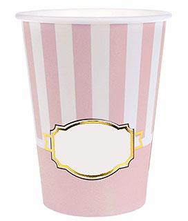 Gobelet Baby Shower avec étiquette vierge rose