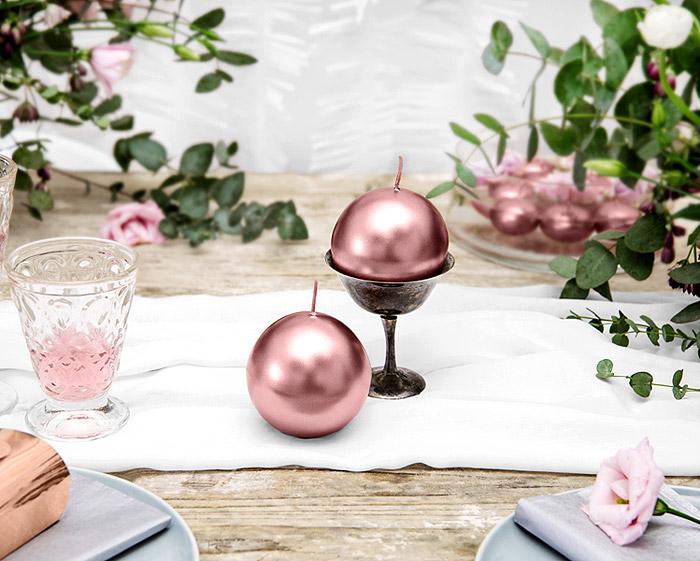 Grande Bougie Sphere Ronde Boule Rose Gold Metal Brillant