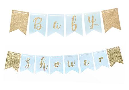 Guirlande Baby shower Fanions bleu et dorée