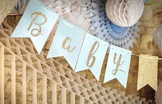 Guirlande Baby Shower bleu ciel