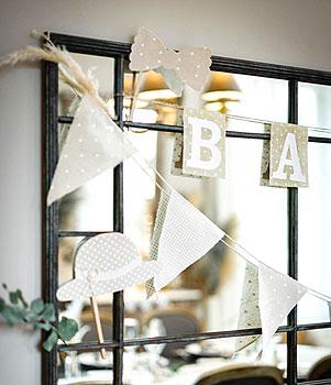 Banderole Baby shower fanions en lin