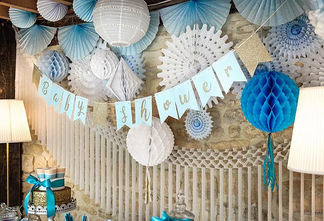 Guirlande baby shower fanions ciel et dor e baby shower - Guirlande baby shower ...