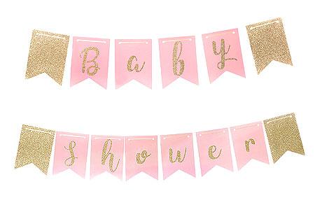 Guirlande Baby shower Fanions rose et dorée