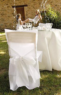 Housse de Chaise Satin Luxe avec Noeud Discount Blanc Déco Jardin
