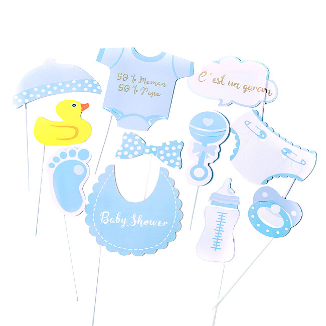 Accessoires photobooth Baby Shower bleu
