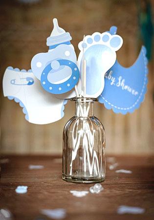 Kit photobooth Baby Shower bleu
