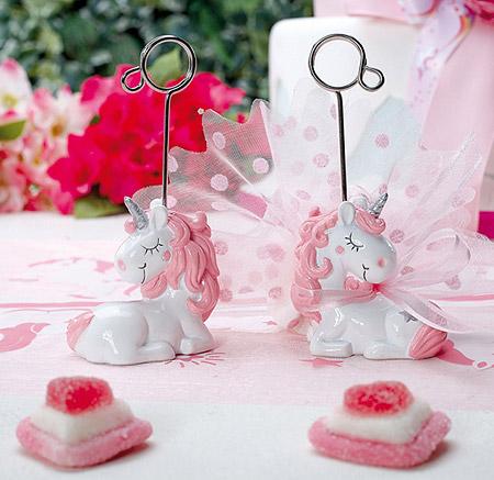 Licorne Pinkie Marque place et Support Dragées