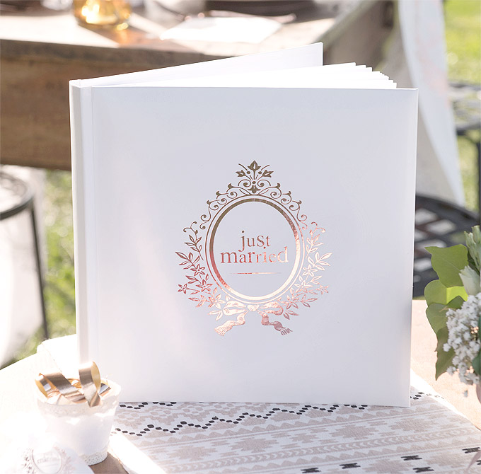 Livre d'Or Just Married Rose Gold Pas Cher