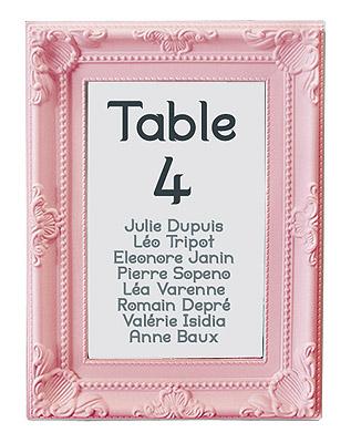 Marque table menu cadre rose pas cher