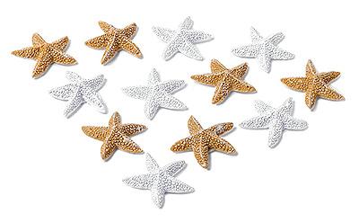 12 petites étoile de mer adhésives décoration de table ocre ivoire et blanc