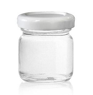 Mini Pot Confiture Couvercle Blanc Contenant