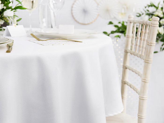 Nappe ronde Luxe blanche tissu 300 cm