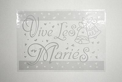 Pancarte vive les mariés transparente
