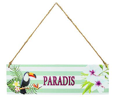 Panneau Thème Tropical en Bois Mot Paradis Pas Cher