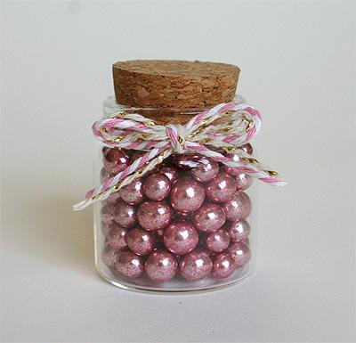 Billes Chocolat Dragées Rose Gold dans sa Fiole en Verre