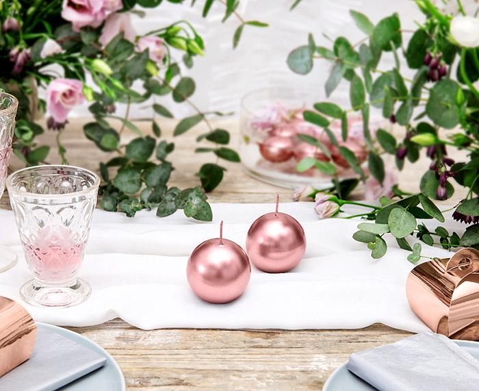 Petite Bougie Ronde Boule Rose Gold Déco Table